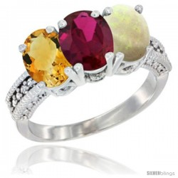 14K White Gold Natural Citrine, Ruby & Opal Ring 3-Stone 7x5 mm Oval Diamond Accent