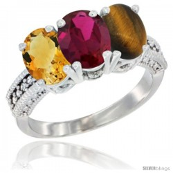 14K White Gold Natural Citrine, Ruby & Tiger Eye Ring 3-Stone 7x5 mm Oval Diamond Accent