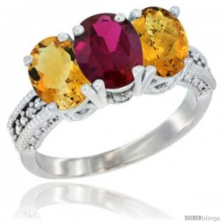 14K White Gold Natural Citrine, Ruby & Whisky Quartz Ring 3-Stone 7x5 mm Oval Diamond Accent