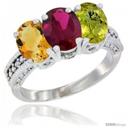 14K White Gold Natural Citrine, Ruby & Lemon Quartz Ring 3-Stone 7x5 mm Oval Diamond Accent