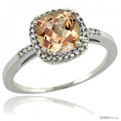 Sterling Silver Diamond Morganite Ring 1.5 ct Checkerboard Cut Cushion Shape 7 mm, 3/8 in wide