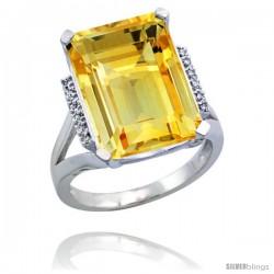 14k White Gold Diamond Citrine Ring 12 ct Emerald Cut 16x12 stone 3/4 in wide