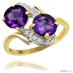 14k Gold ( 7 mm ) Double Stone Engagement Amethyst Ring w/ 0.05 Carat Brilliant Cut Diamonds & 2.34 Carats Round Stones, 3/4