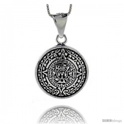 Sterling Silver Double Sided Aztec Calendar Pendant, 1 in (25 mm)