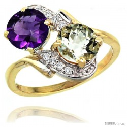 14k Gold ( 7 mm ) Double Stone Engagement Purple & Green Amethyst Ring w/ 0.05 Carat Brilliant Cut Diamonds & 2.34 Carats Round