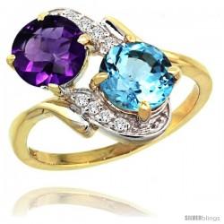 14k Gold ( 7 mm ) Double Stone Engagement Amethyst & Swiss Blue Topaz Ring w/ 0.05 Carat Brilliant Cut Diamonds & 2.34 Carats
