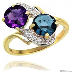 14k Gold ( 7 mm ) Double Stone Engagement Amethyst & London Blue Topaz Ring w/ 0.05 Carat Brilliant Cut Diamonds & 2.34 Carats