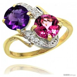 14k Gold ( 7 mm ) Double Stone Engagement Amethyst & Pink Topaz Ring w/ 0.05 Carat Brilliant Cut Diamonds & 2.34 Carats Round