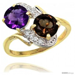 14k Gold ( 7 mm ) Double Stone Engagement Amethyst & Smoky Topaz Ring w/ 0.05 Carat Brilliant Cut Diamonds & 2.34 Carats Round