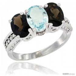 10K White Gold Natural Aquamarine & Smoky Topaz Sides Ring 3-Stone Oval 7x5 mm Diamond Accent