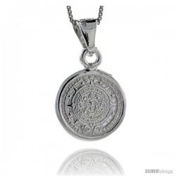 Sterling Silver Aztec Calendar Pendant, 3/4 in (20 mm)