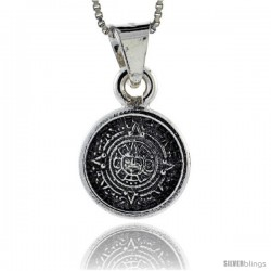 Sterling Silver Small Aztec Calendar Pendant, 1/2 in (15 mm)