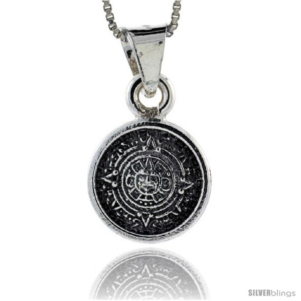 Sterling silver small aztec calendar pendant 12 in 15 mm undefined aloadofball Image collections
