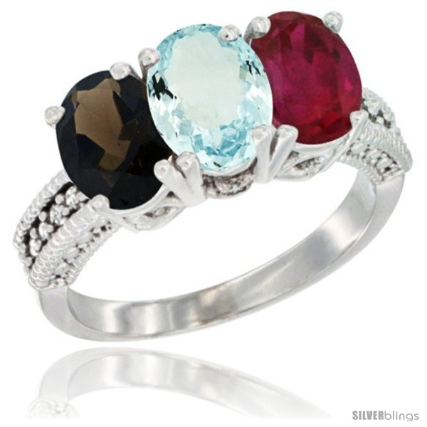 https://www.silverblings.com/85893-thickbox_default/10k-white-gold-natural-smoky-topaz-aquamarine-ruby-ring-3-stone-oval-7x5-mm-diamond-accent.jpg