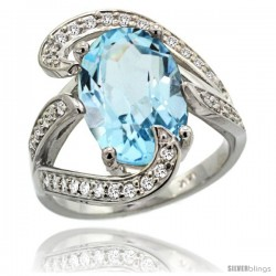 14k White Gold Sky Blue Topaz Engagement Ring 7.10 Carats Oval Cut Stone 0.74 cttw Diamonds, 3/4 in