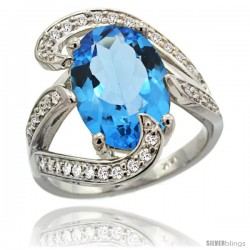 14k White Gold Natural Swiss Blue Topaz Ring Oval 14x10 Diamond Accent, 3/4 in wide