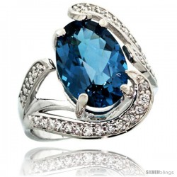 14k White Gold Natural London Blue Topaz Ring Oval 14x10 Diamond Accent, 3/4 in wide