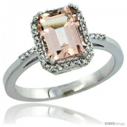 Sterling Silver Diamond Morganite Ring 1.6 ct Emerald Shape 8x6 mm, 1/2 in wide -Style Cwg13129