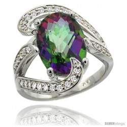 14k White Gold Natural Mystic Topaz Ring Oval 14x10 Diamond Accent, 3/4 in wide