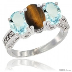 10K White Gold Natural Tiger Eye & Aquamarine Sides Ring 3-Stone Oval 7x5 mm Diamond Accent