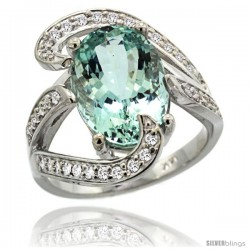 14k White Gold Natural Aquamarine Ring Oval 14x10 Diamond Accent, 3/4 in wide
