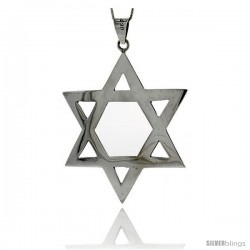 Sterling Silver Very Large Star of David Pendant, 3 in tall