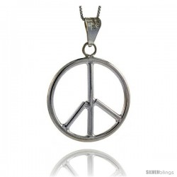 Sterling Silver Large Peace Sign Pendant, 1 1/2 in (39 mm)