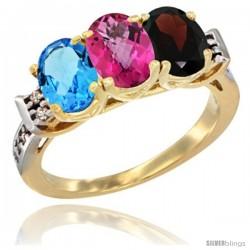 10K Yellow Gold Natural Swiss Blue Topaz, Pink Topaz & Garnet Ring 3-Stone Oval 7x5 mm Diamond Accent