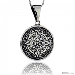 Sterling Silver Aztec Calendar Pendant, 1 in (25 mm)