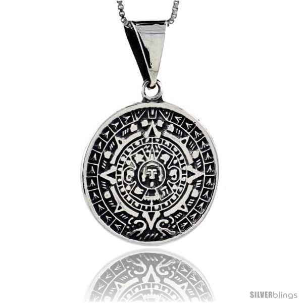 Sterling silver aztec calendar pendant 1 in 25 mm silverblings undefined aloadofball Image collections