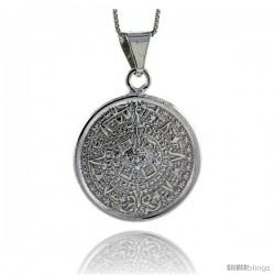 Sterling Silver Aztec Calendar Pendant, 1 1/8 in (28 mm)