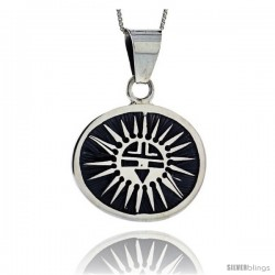 Sterling Silver Round Sun Pendant (27x33 mm)