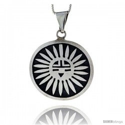 Sterling Silver Large Round Sun Pendant (30x32 mm)