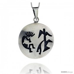 Sterling Silver Large Round kokopelli Pendant (34x35 mm)
