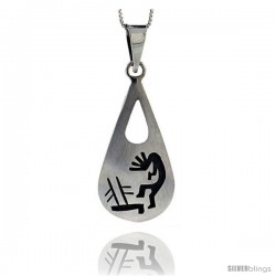 Sterling Silver Tear Drop kokopelli Pendant (41x22 mm)