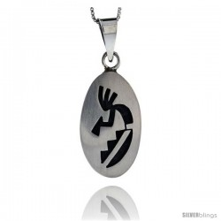 Sterling Silver Oval kokopelli Pendant (33x19 mm)