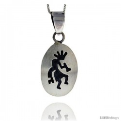 Sterling Silver Oval kokopelli Pendant (26x18 mm)