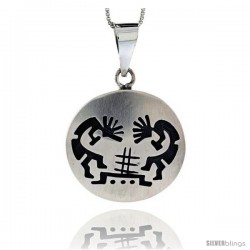 Sterling Silver Round kokopelli Pendant (30x31 mm)
