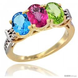 10K Yellow Gold Natural Swiss Blue Topaz, Pink Topaz & Peridot Ring 3-Stone Oval 7x5 mm Diamond Accent