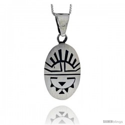 Sterling Silver Oval Sun Face Pendant 1 1/8 in tall
