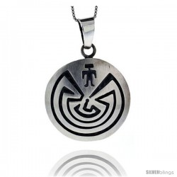 Sterling Silver Maze Pendant 1 5/16 in tall