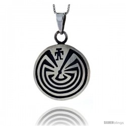 Sterling Silver Maze Pendant 1 1/8 in tall