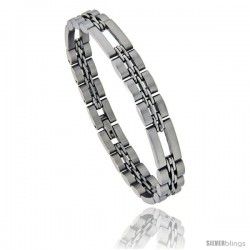Stainless Steel 3+1 Basket Link Bracelet Satin Finish 3/8 in wide, 8.5 in long