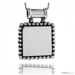 Sterling Silver Beaded Square Engravable Disc Slide / Pendant Beaded Edge 1 1/8 in tall