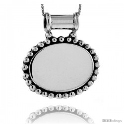 Sterling Silver Beaded Oval Engravable Disc Pendant Beaded Edge 1 in tall