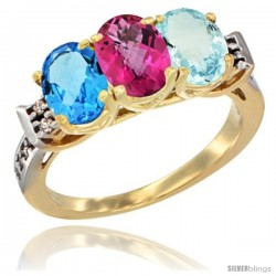 10K Yellow Gold Natural Swiss Blue Topaz, Pink Topaz & Aquamarine Ring 3-Stone Oval 7x5 mm Diamond Accent