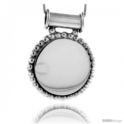 Sterling Silver Beaded Round Engravable Disc Pendant Beaded Edge 1 5/16 in tall