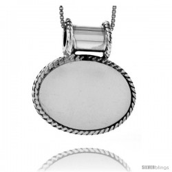 Sterling Silver Oval Engravable Disc Pendant / Slide Rope Edge 13/16 in tall