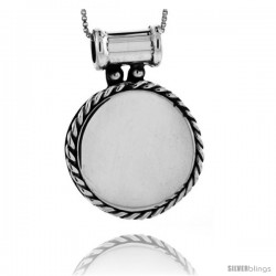 Sterling Silver Round Engravable Disc Pendant / Slide Rope Edge 1 1/16 in tall