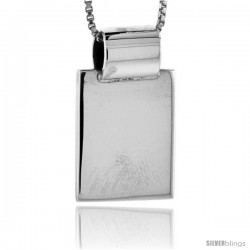Sterling Silver Small Rectangular Engravable Disc Slide / Pendant 9/16 in tall